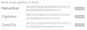 Some of the fonts that can be embedded using typeface.js