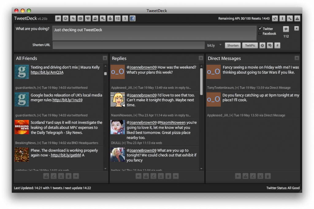 TweetDeck Interface
