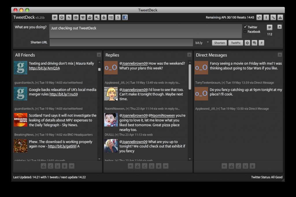 TweetDeck Interface