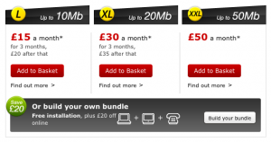 Virgin Media broadband packages' prices