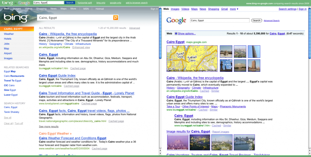 Bing vs Google, at the same time