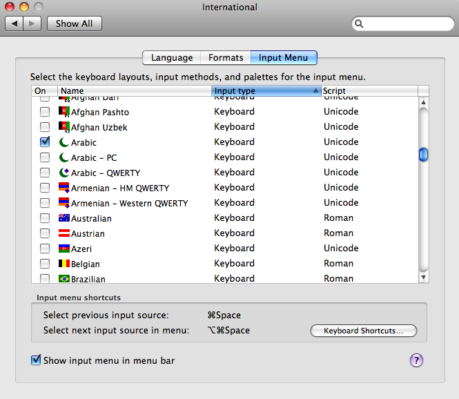 Arabic support in mac os x tarek shalaby the international input menu yadclub Image collections