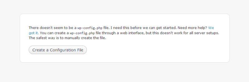 You'll be prompted to create a configuration file